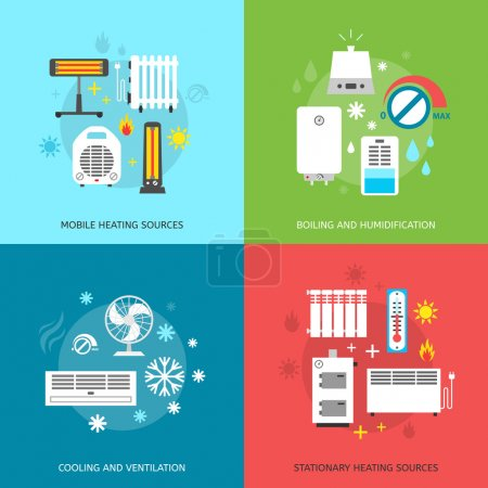 Illustration for Heating ventilation and conditioning flat icons set - Royalty Free Image