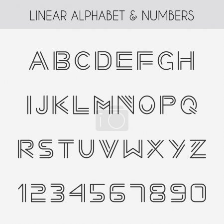 Illustration for Linear font, Minimalistic alphabet with thin lines - Royalty Free Image