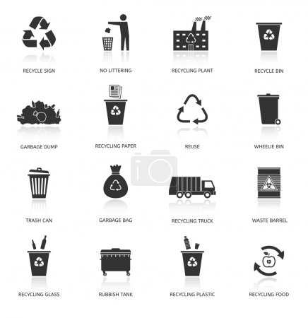 Recycling and garbage icons