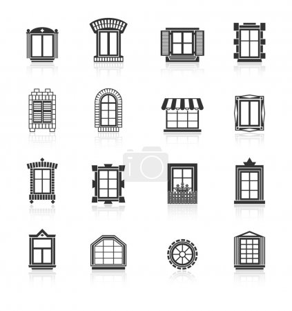 Illustration for Vintage windows set, flat exterior vector icons - Royalty Free Image