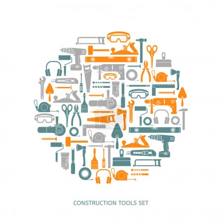Illustration for Construction tools vector icons set. Hand equipment collection in flat style. - Royalty Free Image