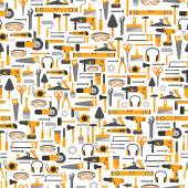 Construction tools vector icons seamless pattern Hand equipment background in flat style