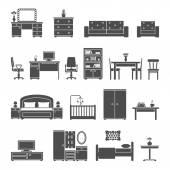 Furniture interior flat icons