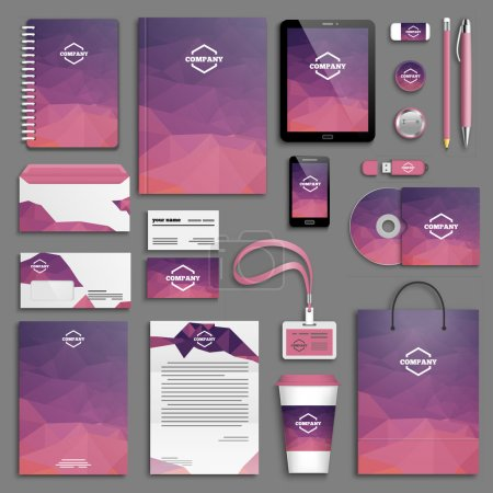 Illustration for Corporate identity template set. Business stationery mock-up with logo. Branding design. Letter envelope, card, catalog, pen, pencil, badge, paper cup, notebook, tablet pc, mobile phone, letterhead - Royalty Free Image