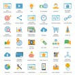 SEO optimization icons. Web development, internet ...