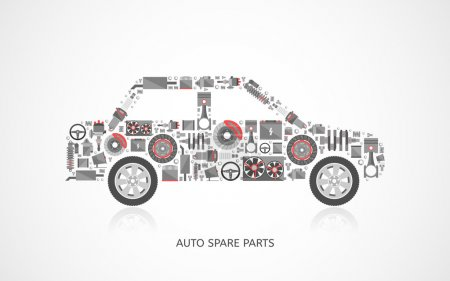 Illustration for Set of auto spare parts. Car repair icons in flat style. Vector illustration EPS10. - Royalty Free Image