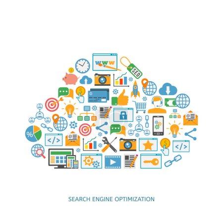 Illustration pour Icônes d'optimisation Seo, développement web, marketing Internet, conception web, tags, stratégie cible, analyse - image libre de droit