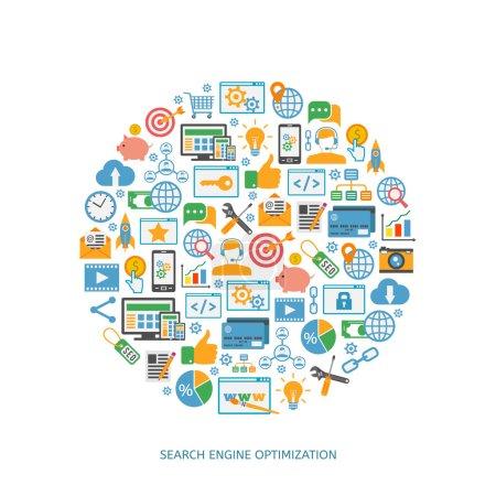 Illustration for SEO optimization icons, web development, internet marketing, web design, tags, target strategy, analysis - Royalty Free Image