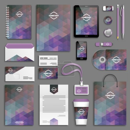Illustration for Corporate identity template set, Business stationery mock-up with logo - Royalty Free Image