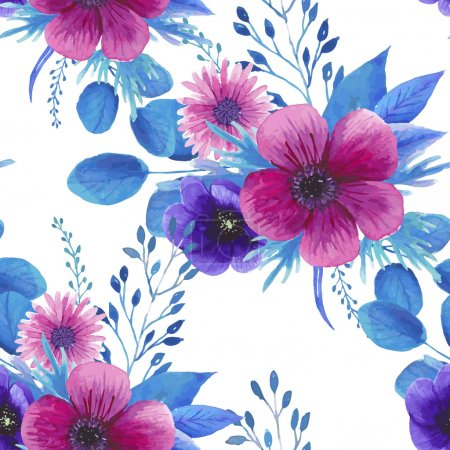 Illustration for Watercolor seamless floral pattern in boho chic style - Royalty Free Image