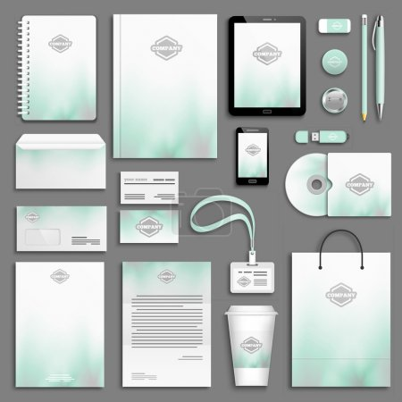 Illustration for Aqua and grey corporate identity template set. Business stationery mock-up with logo. Branding design. - Royalty Free Image