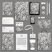 Zentangle black and white corporate identity template set Business stationery mock-up with logo Branding design