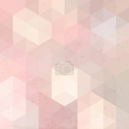 Illustration for Pink geometric retro background with grunge texture. Vintage wallpaper. - Royalty Free Image