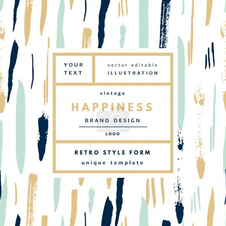 Illustration for Happiness gold Mint Vintage modern logo in frame on hand drawn background. Retro label package template - Royalty Free Image