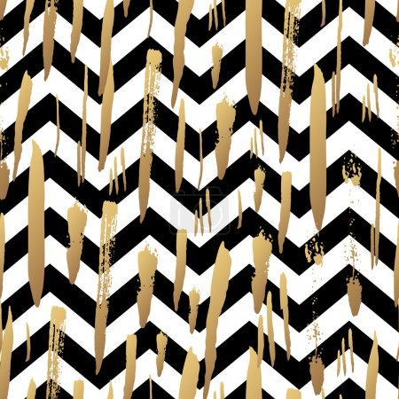 Illustration for Striped background with gold brush strokes and black and white stripes chevrons. Hand drawn ink background. Fashion trendy wallpaper. Gradient seamless pattern. Modern painted card - Royalty Free Image