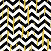 Shining background with gold glitter brush strokes and black and white stripes chevrons Hand drawn ink background Fashion trendy wallpaper Golden shiny texture Modern painted card