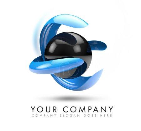 Photo pour A 3D illustration representing a black 3d sphere logo levitating with blue abstract shape arround it. - image libre de droit