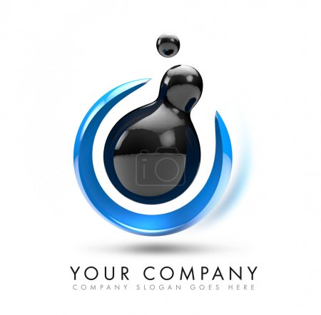 Photo for A 3D illustration representing a black 3d sphere logo levitating with blue abstract shape arround it. - Royalty Free Image