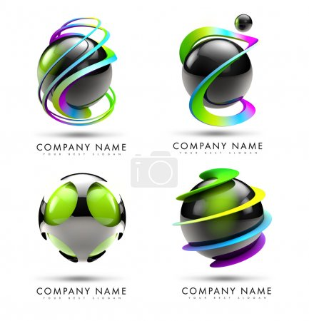Photo pour A 3D logo illustration representing a set of 4 black 3d spheres with twisted rainbow swashes around it. - image libre de droit