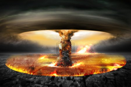 Danger of nuclear war illustration with multiple e...