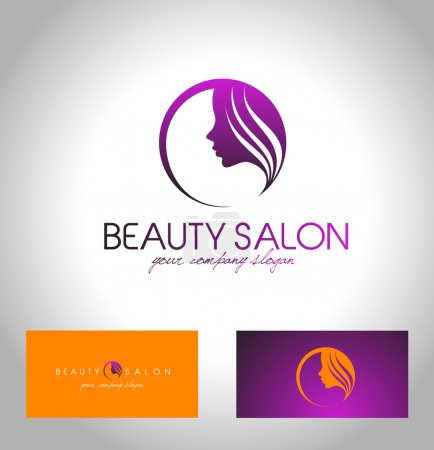Illustration for Beauty Female Face Logo Design.Cosmetic salon logo design. Creative Woman Face Vector. Hair Salon Logo. - Royalty Free Image