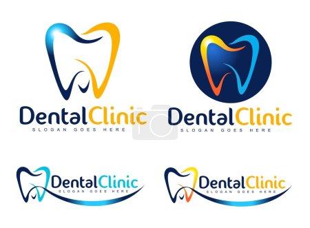 Illustration pour Conception de logo dentaire. Logo du dentiste. Logo vectoriel de l'entreprise créative de clinique dentaire. - image libre de droit