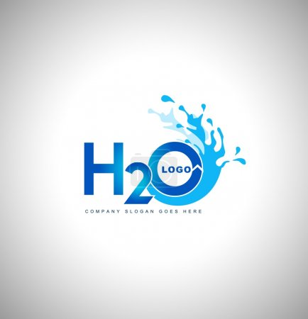 Illustration for Water logo vector.Creative blue water splash with drops - Royalty Free Image