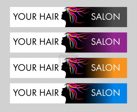 Illustration for Hair Salon Logo. Creative vector concept with female head and hair. - Royalty Free Image