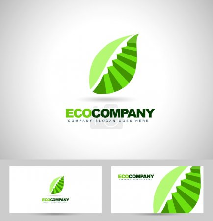 Leaf Logo and stairs concept.
