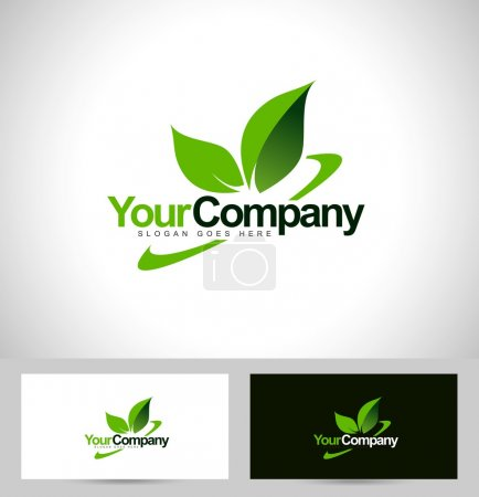 Illustration for Green leaf logo vector with swash and company name text - Royalty Free Image