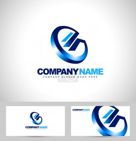 Illustration for Abstract G Letter Logo. Creative G letter logo design in blue colors and business card template. - Royalty Free Image