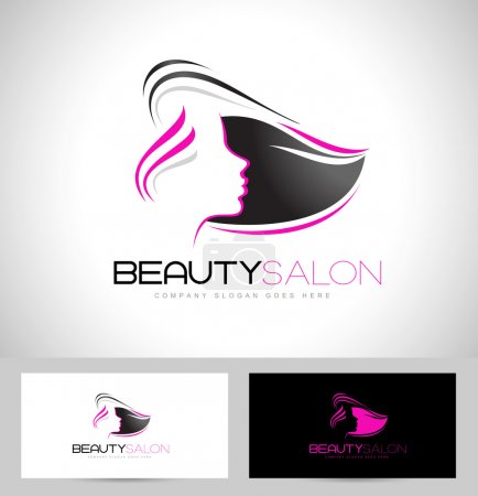 Illustration for Hair Salon Logo Design. Creative abstract woman face and hair and business card template. - Royalty Free Image