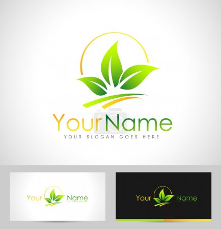 Illustration for Leaf Logo Design. Creative abstract leafs leaf icon logo and business card template. - Royalty Free Image