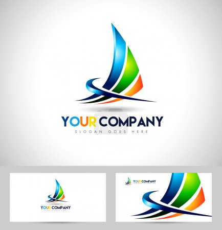 Illustration for Corporate Abstract Concept Design. Sharp design swashes and business card template. - Royalty Free Image