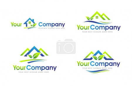 Illustration for Real Estate Logo Set. Creative abstract real estate icon logo with blue and green colors - Royalty Free Image