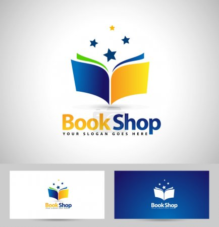 Illustration for Book Shop Logo Design. Creative Book Icon Design and business card template. - Royalty Free Image