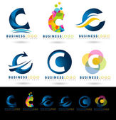 Letter C Logo Designs Creative abstract vector letter C icons with blue and orange colors