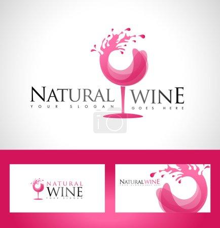 Illustration pour Modèle de conception de logo de vin. Logo de la société viticole avec modèle de carte de visite - image libre de droit