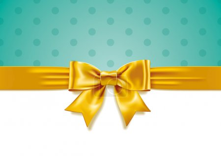Illustration for Vector illustration of Yellow Gift Bow on white and turquoise background. Eps10, Ai10. - Royalty Free Image