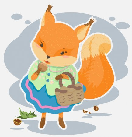 Illustration for Cartoon squirrel gnaws nut,vector cartoon drawing, fairy tale character - Royalty Free Image