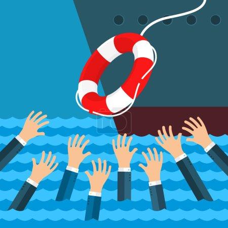Illustration pour Aider les entreprises à survivre. Noyer des hommes d'affaires obtenant une bouée de sauvetage de gros navires pour de l'aide, du soutien et de la survie. Conception plate, illustration vectorielle - image libre de droit