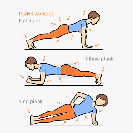 Illustration for Plank workout. Woman making perfect body with the plank exercise. - Royalty Free Image