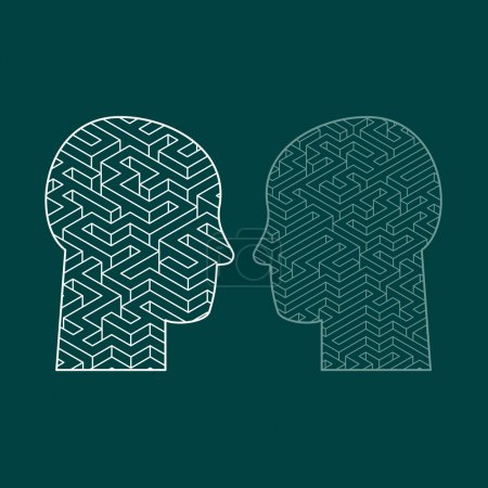 Illustration for Human intelligence puzzle with a maze in the shape of a human head as a symbol of the complexity of brain thinking as a challenging problem to solve by medical doctors. Flat design vector illustration - Royalty Free Image