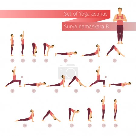 Vector yoga set in flat style.