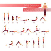 Vector yoga set in flat style