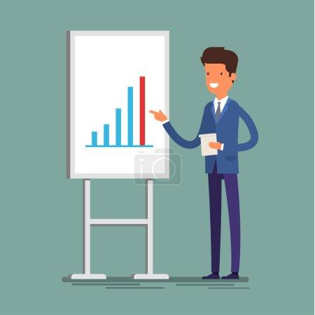 Cartoon businessman making presentation