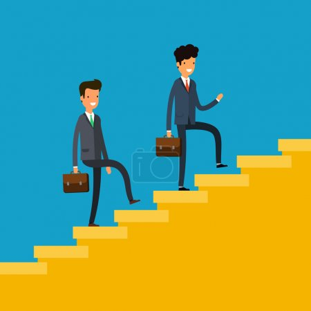 Illustration for Concept of success. Business people climbing a flight of stairs. Flat design, vector illustration. - Royalty Free Image