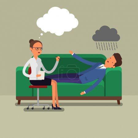 Illustration for Psychological counseling concept. Psychotherapist with lying patient characters. - Royalty Free Image