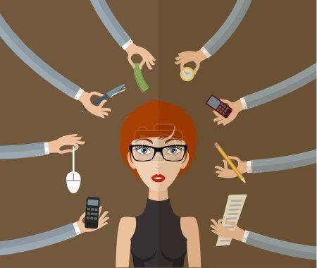Illustration pour Femme d'affaires travaillant dur au bureau avec beaucoup de paperasserie. Concept d'entreprise sur le travail acharné et multitâche. Style plat, illustration vectorielle - image libre de droit