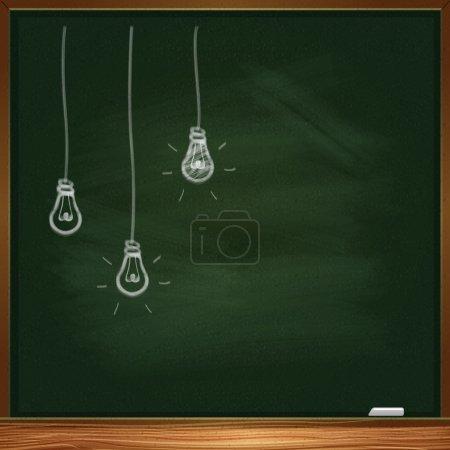 Hand-drawn chalk light bulbs